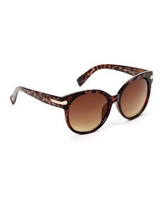Another great find on #zulily! Tortoise & Brown Oval Oversize Sunglasses #zulilyfinds