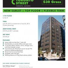 15 FOR SUBLEASE TORONTO Under STREET $30 Gross TORONTO, ONTARIO N E W S U B L E T | T O P F LO O R | F L E X I B L E T E R M11TH FLOOR5,106 SFTERMJune 30, 2. http://slidehot.com/resources/fc6.33454/