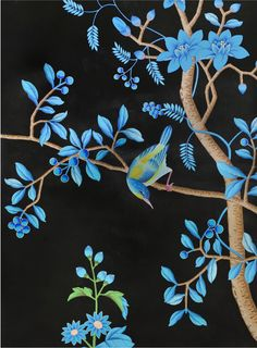 Kingfisher Fromental chinoiserie wallpaper turquoise black