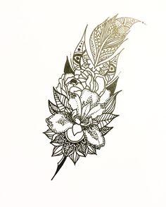 Mandala feather tattoo idea Feathertattoo tattoo design mandala design irisflower irisflowertattoo dotwork tattoo dotworkers art artist boo litjes