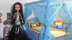 Como fazer cama com dossel para boneca Monster High, Barbie, etc