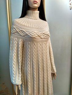 "Платье в стиле ""Шамони"" из кашемира с шелком! Going Vegan, Turtle Neck, Wool, Knitting, Sweaters, Fashion, Crocheting, Tejidos, Moda"
