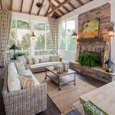 Screened in Porch - love the contrast in light ceiling with dark beams, curtains on rods tied in corners. A lot of wonderful ideas!