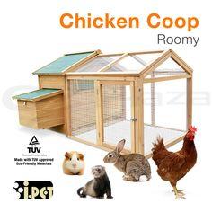 Chicken Coop Rabbit Hutch Hen House Wooden Chook Guinea Pig Ferret Cage Run 003
