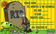 invitacion-tarjetita-candy-bar PLANTAS VS ZOMBIS kit-imprimible Plants Vs Zombies, Zombies Vs, 9th Birthday, Birthday Parties, Plantas Versus Zombies, Plant Zombie, Zombie Party, Baby Shower, Superhero Party