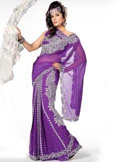 Amazing Purple Georgette Lehenga Saree : Cbazaar