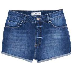 Mango Denim Shorts, Open Blue ($47) ❤ liked on Polyvore