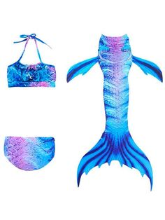 Girls Mermaid Tails For Swimming Cosplay Costume Children Little Mermail Tails Girls Bikini Halloween Costume For Kids Swimsuit Good Companions For Children As Well As Adults Mother & Kids