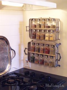 Casserole servers turned kitchen spice storage - I see these for $1.00 at every t-shop.  great idea.