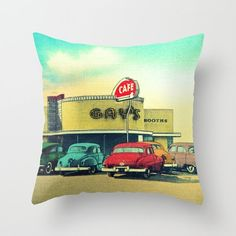 Gay's Cafe Pillow Cover Mid Century Modern Pillow by VintageBeach