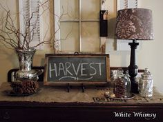 Diy chalkboard....change the message to go with each season.