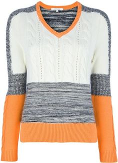 Carven Contrast Sweater in Orange (grey) - Lyst