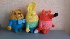 Crochet Animal Trio Bear Rabbit Fox Amigurumi Stuffed toys Cute Toys by VIKcraft on Etsy