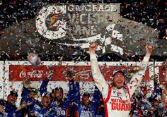 Dale Earnhardt Jr., driver of the #88 National Guard Chevrolet, celebrates in Victory Lane after winning the NASCAR Sprint Cup Series Daytona 500 at Daytona International Speedway on February 23, 2014 in Daytona Beach, Florida. http://www.pinterest.com/jr88rules/nascar-2014/ #DaleJr2014