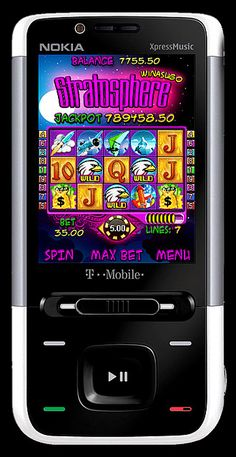 """Mobile Slots - """"Stratosphere"""" - new & unique 3-reel, 9-line slot machine with extremely gripping illustrations, magnificent illustrations complement the on screen action and a phenomenal Progressive Jackpot. Enjoy this impressive themed slot games wi place sports bets from your mobile phone"""
