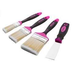 $5.26 Sale. #pink 4-Piece Paintbrush and Scraper Set http://theoriginalpinkbox.com/products/new-4-piece-paintr-brush-set-with-scraper/ #thinkpink