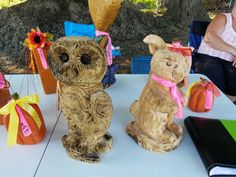 Owl and bunny chainsaw carved