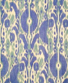 Beautiful Italian Ikat Multipurpose Fabric from Brunschwig & Fils called Bayadere Ikat - Blue/Wave