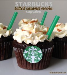 """Starbucks themed"" Salted Caramel Mocha Cupcakes - adapted from Bakingdom - by District Kitchenette"