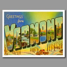 Greetings from  VERMONT VT Postcards ... Vintage Maple Syrup State Greeting Cards.