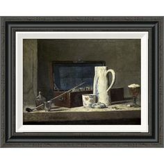 Global Gallery 'Smoking Kit With a Drinking Pot' by Jean-Baptiste-Siméon Chardin Framed Painting Print Size: