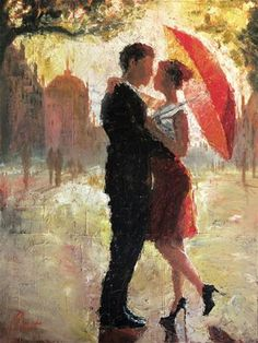 Red Umbrella Romance - Original Fine Art for Sale - � Christopher Clark. This is done with oil & plaster on canvas.