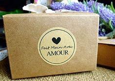 """""""Fait main Avec Amour"""" (handmade with love) autocollant kraft/étiquette, cadeaux"""