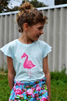 Handstitched Flamingo Rose Applique Tshirt Size 6 Australian Made   Monkeys Over The Moon   madeit.com.au