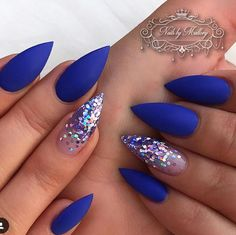 In search for some nail designs and some ideas for your nails? Here's our list of must-try coffin acrylic nails for fashionable women. Blue Acrylic Nails, Acrylic Nail Designs, Nail Art Designs, Blue Gel Nails, Royal Blue Nails, Hair And Nails, My Nails, Fall Nails, Nagel Bling