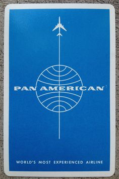 Pan Am Playing Card and I still have a deck that was mini-size for kids.mostly I slept during flights back then. Vintage Travel Posters, Vintage Ads, Vintage Airline, Branding, Airline Travel, Air Travel, Pan Am, Logo Sticker, Graphic Design