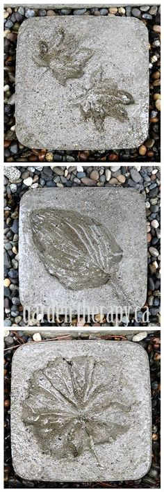 DIY Leaf Imprint Concrete Stepping Stones (via Garden Therapy)