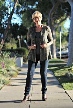 Eileen Fisher linen cardigan, skinny jeans, Donald J. Pliner booties, Nordstrom anniversary sale