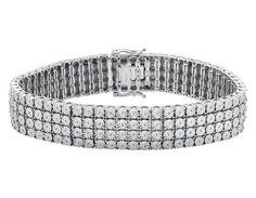 "925 Sterling Silver 4 Row Prong Set Fanook Style Genuine Diamond Bracelet 2ct 7"" #OmegaJewellery #Tennis"