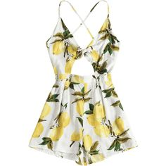 Lemon Print Strappy Tie Front Romper ($30) ❤ liked on Polyvore featuring jumpsuits, rompers, white romper, playsuit romper, playsuit jumpsuit, lemon print jumpsuit and jump suit
