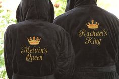 RUSH SHIP PERSONALIZED Black or White Luxury Velour Terry Hotel Robe  His  and Hers Wedding Robes  King and Queen Robe  Monogrammed Robes e91516a25