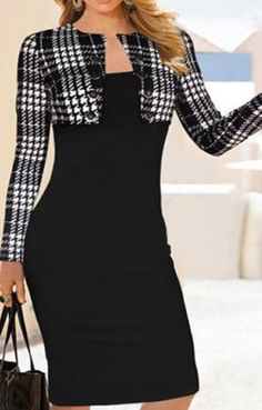 Elegant Black and White Houndstooth Plaid Spliced Long Sleeve Dress #Black #White #Houndtooth #Working #Woman #Daytime #Fashion