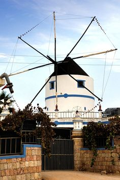 Windmill in Portugal!!! Bebe'!!! White eight bladed windmill!!!