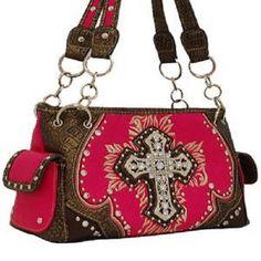 Pink Studded Cross Shoulder Bag Western Cowgirl Purse Handbag #Rhinestone #ShoulderBag