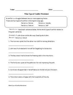 Internal and External Conflict Worksheet | Englishlinx.com Board ...