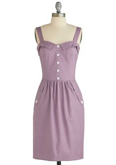 From Mod Cloth, Catalogue Your Dots Dress.  I realize it has polka dots but it's the right shade of purple and would like great on anyone!