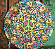 Singleton Hippie Art Green Peace Original on by justgivemepeace, $105.00