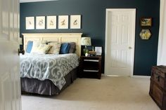 Bird and Octopus and Dog Themed Master Bedroom Tour - Bedroom Themes, Diy Bedroom Decor, Bedroom Designs, Home Decor, Bedroom Ideas, Bedroom Paint Colors, Wall Colors, Paint Colours, Bedroom Green