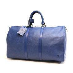 Louis Vuitton Keepall 45 Epi Handle bags Blue Leather M42975