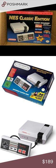 NEW NINTENDO NES CLASSIC MINI ! Ships NOW Brand-new in box the tendo classic preloaded with 30 games. Bought from Amazon Eu, (a copy of original receipt available upon request )will include a brand new KMASHI usb wall adapter So it's ready for play , I'll ship within 12-16 hours upon purchase so you Get it in time for Christmas . Feel free to contact . Nintendo Accessories