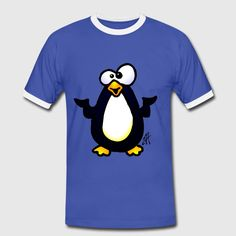 Pinguin - Mannen contrastshirt.  #penguin #pinguin #Tshirt #Spreadshirt #Cardvibes #Tekenaartje #SOLD