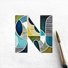 A series of small paintings exploring the alphabet using colors, patterns, and textures. Typography Drawing, Hand Drawn Lettering, Creative Lettering, Lettering Design, Logo Design, Alphabet Art, Calligraphy Alphabet, Typography Letters, Letter Art