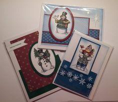 Weihnachtskarten Schneemänner liebevolle Handarbeit,  3 Stück von CreativeArtsbyme auf Etsy