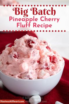 Cherry Fluff Salad has only 5 ingredients and makes enough for a crowd. This fluff salad is sweet and creamy and delicious enough to pass for dessert! Jello Pudding Desserts, Jello Dessert Recipes, Fluff Desserts, Cherry Desserts, Dessert Salads, Fruit Salad Recipes, Healthy Dessert Recipes, Just Desserts, Delicious Desserts