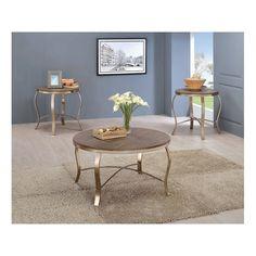 Benzara Wicklow Transitional 3 Piece Table SET, Champagne, Rustic Oak/Beige rustic oak/champagne