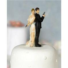 """Super Sexy Spy"" Wedding Bride and Groom Figurine"